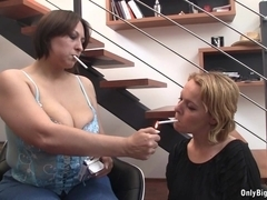 Nadia and Friend Blow Cock