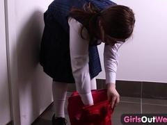 Girls Out West - Curvy hairy schoolgirl films her masturbation