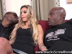 Blonde gets black cock dp