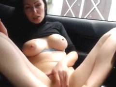 Atevsone_girl smokes and masturbates in the car