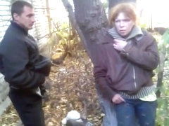 Russian slut gets fucked outside on the ground and lets her friends watch