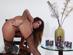 Great tits brunette latina dildos herself