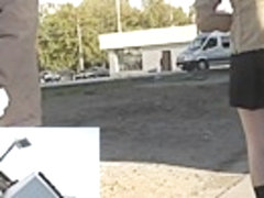 Chic outdoor upskirt footage