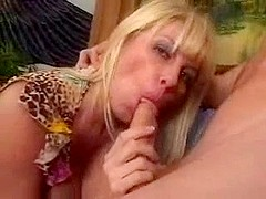 Blonde mature with big breasts.