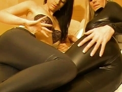 Hot pair in Leather panties - bostero