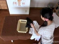 Hot Japanese AV model enjoys a massage and cock