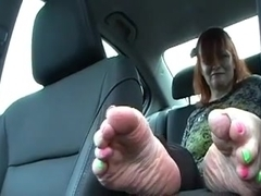 Bella Jaimes Foot Fetish Goddess in the car