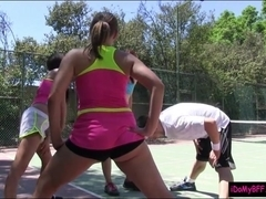 Two besties pounding with tennis coach