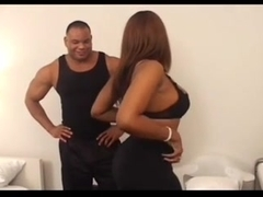 Ebony girl takes part in action with muscled guy