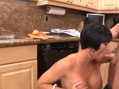Brunette Shay Fox is a cute naked cooker