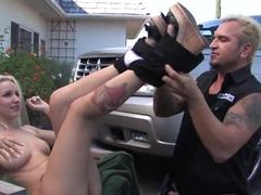 Blonde haired teen Stevie Shae gets shagged beside a car