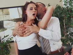 Amazing group sex in the office with gorgeous chicks
