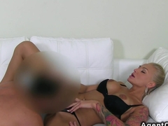 Tattooed busty amateur banged on casting by fake agent