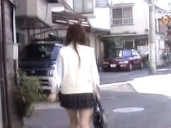 Asian school girl attacked by a nasty street sharker.