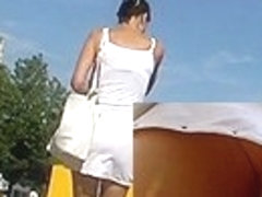 Clinging suit upskirt video