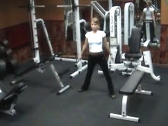 Voyeur sexy poses in gym