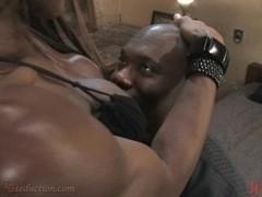 Hot black Ts woman ass fucks, strokes and blows