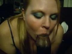 My bulky lady sucking my black cock