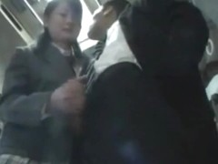 Asian Schoolgirl Gives Handjob On Bus