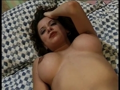 Pretty brunette hair in hawt red underware masturbates in ottoman