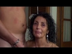 Sexy MILF playing with a young cock until it cums