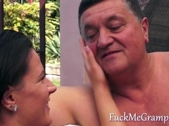 Grandpa enjoying a tight teen pussy
