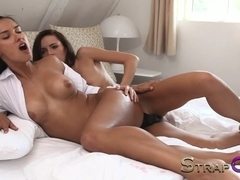 Gina Devine fucks her GF with long red rubber dildo