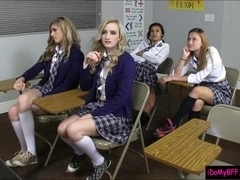 Four schoolgirls fucked by their teacher in the classroom