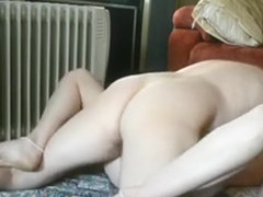 Moaning blonde gets missionary fucked and creampied on the floor