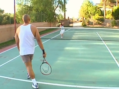 Petite tight ass Sadie West gives at tennis court