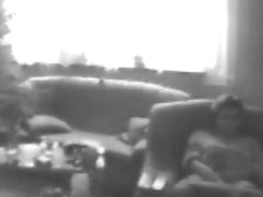 Nasty mommy home alone caught masturbating in living room