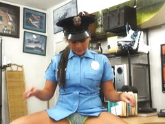 Sexy and big tits police woman selling her firearm gets fucked
