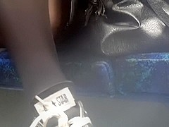 Voyeur upskirt shot in public bus