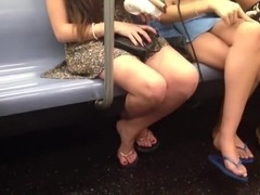 Candid legs and flip flop feet