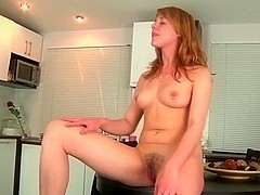 Sexy Little European girl fingering in the kitchen