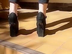 Extreme Mary Jane studded heel less platform Wedges