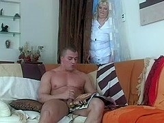 Hot aged blonde and guy