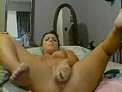 Masturbating With A Green Worn Out Dildo