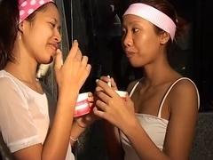 Saori & Saya Thai nubiles take up with the tongue ice-sex cream titty thaigirltia.com