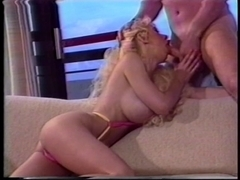 Vintage blond receives her arsehole plugged and eats cock juice