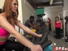 Fit babe Farrah gets fucked in the gym by a big cock