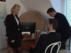Hot threesome with a sexy MILF boss and two young guys