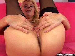 Golden-Haired grandma in darksome nylons copulates herself