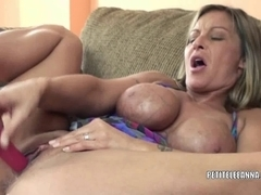 Sexually Excited housewife Leeanna bonks her toy