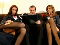 2 naughty schoolgirls and their professor