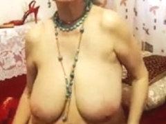 granny in red brassiere