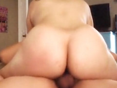 bubblebutt cums on dick while riding it
