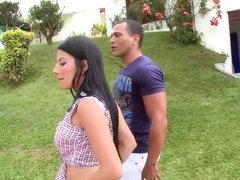 Pretty Latina hottie shows boobs outdoor