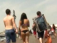 Sexy ass teen in black bikini bottom