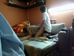 Dude lets his best friend fuck his gf doggystyle, while she sucks his cock.